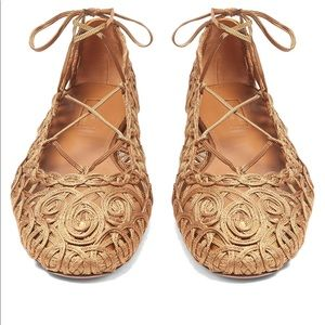 Aquazzura Kya embroidery and Napa flats -bronze